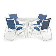 "5-Piece 42"" Round Gardenella Sling Dining Set, Gloss White Finish, Cobalt Fabric"