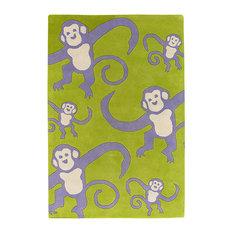 Monkeys Contemporary Area Rug, 3'6x5'6 Rectangle