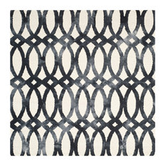 Safavieh Dip Dye Collection DDY675 Rug, Ivory/Graphite, 7' Square