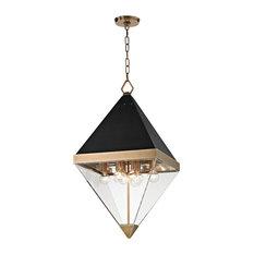 Acrylic pendant lighting houzz hudson valley lighting coltrane 8 light pendant aged brass finish clear acrylic aloadofball Image collections