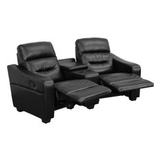 Futura Series 2-Seat Reclining Theater Sting Unit With Cup Holders, Black