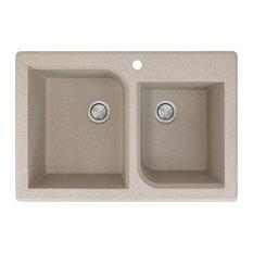 Radius 33x22x9.5 Granite 1-3/4 Double Drop Kitchen Sink, 1 Faucet Hole, Latte
