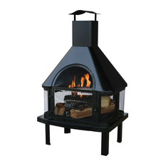 Black Wood Burning Outdoor Firehouse With Chimney