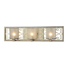 French Country 3 Light Vanity Light in Aged Silver Finish