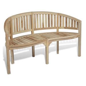 vidaXL Teak Banana Bench With 3 Seats, 151 cm
