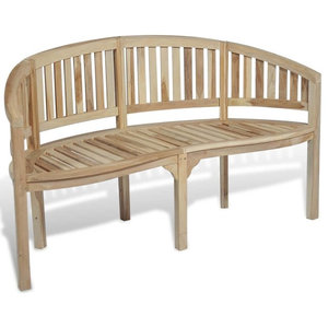 vidaXL Teak Banana Bench With 3 Seats, 151 cm