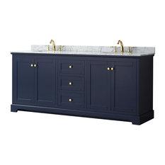 "Avery 80"" Dark Blue Double Vanity, Carrara Marble Top, Oval Sinks, No Mirror"