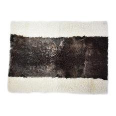 "Sheep Wool Rug Yoga Meditation Mat Dark Brown White 2'6""x3'5"""