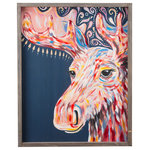 Glory Haus, Inc - Moose Framed Canvas - A fun artistic take on a Alaskan Moose painting. This multi-colored painting on dark blue canvas is a great way to add a pop of color. The faux-wood frame highlights the artistic detail in the painting. Display this vertical painting for a unique design feature in your home