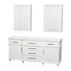 """Berkeley DBL Vanity, 24"""" Cabinets, White, 72"""", No Countertop, No Sink"""