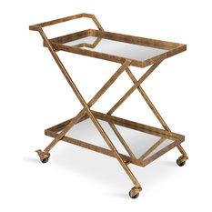 "Tarrant 2-Mirrored Tray Shelf Bar Cart, Gold 29.5""x16.5""x31.5"""