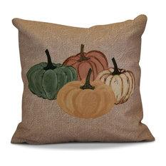 "Paper Mache Pumpkins Geometric Print Outdoor Pillow, Taupe, 16""x16"""