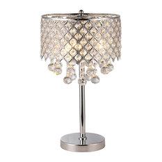 Marya 3-Light Chrome Round Crystal Chandelier Bedroom Nightstand Table Lamp