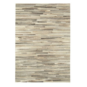 Gaucho Stripe Light Grey Rectangle Modern Rug 160x230cm