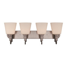 Craftmade Preston Hollow 4-Light Vanity, Hammered Iron/Brushed Nickel