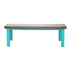 Large Natural Oak Dining Table, Fresh Aqua