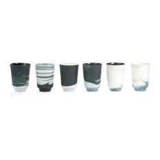 Vij5 Pigments and Porcelain Tea Mugs, Black and White, Set of 6