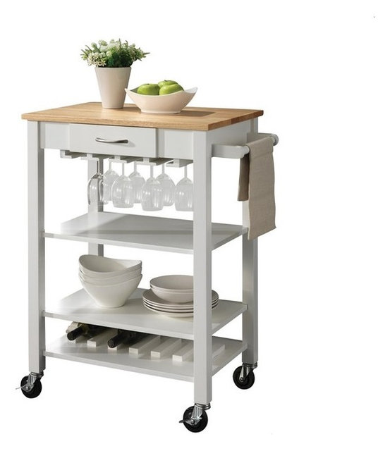 Natural Kitchen Cart With Butcher Block Top : White and Natural Kitchen Cart With Butcher Block Top - Transitional - Kitchen Islands And ...