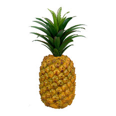 """Polyresin Pineapple With Floral Top, 11"""""""