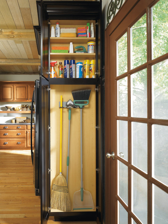 Beautiful Diamond Shallow Depth Utility Cabinet With Broom Loops   Kitchen Cabinetry