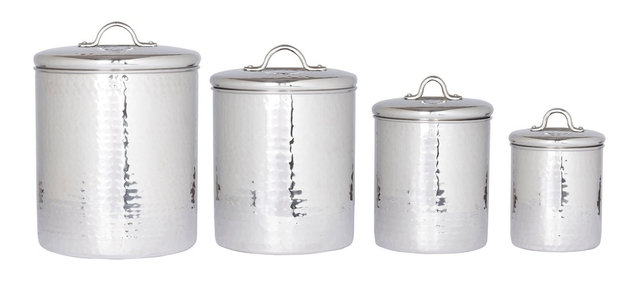 4 Pc Stainless Steel Hammered Canister Set With Fresh Seal Covers