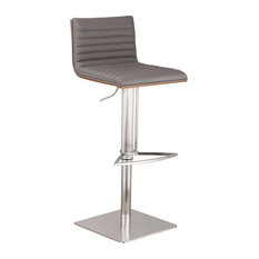 Cafe Adjustable Brushed Stainless Steel Bar Stool, Gray Pu With Walnut Back