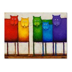 Daniel Patrick Kessler 'Rainbow Cats' Canvas Art, 32x24