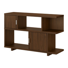 Madison Avenue Console Table With Storage In Modern Walnut - Engineered Wood