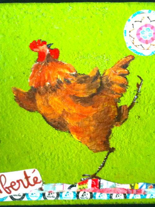 poules, peinture et collage sur bois - Tableau Multi-matières