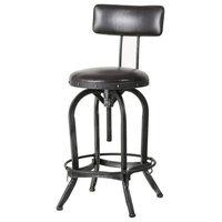 GDF Studio Samthorn Modern Industrial Upholstered Adjustable Height Swivel Barst