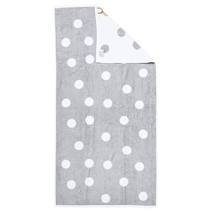 Dots Beach Towel, Silver and White