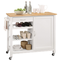 Kitchen Island, Rubber Wood, MDF, Natural and White