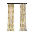 "Triad Gold Printed Cotton Twill Curtain Single Panel, 50""x84"""