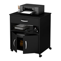 South Shore Furniture   South Shore Axess Printer Cart On Wheels, Pure  Black   Office