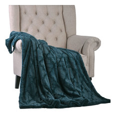 Ashley Jumbo Brushed Faux Fur & Matching Sherpa Borrego Backing Throw, Dark Teal