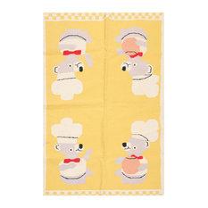 "Yellow Beige Color Persian Rug, 4'1""x6'"