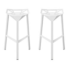 EZ Mod Geometric Barstools Set Of 2 White