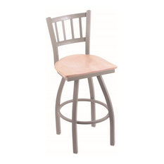 810 Contessa 25-inch Counter Stool Anodized Nickel Finish Natural Maple Seat