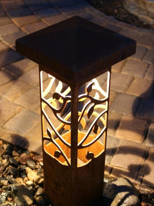 Outdoor Lighting Bollards Decorative steel bollard lights workwithnaturefo