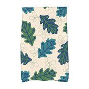 Retro Leaves Floral Print Hand Towel, Blue