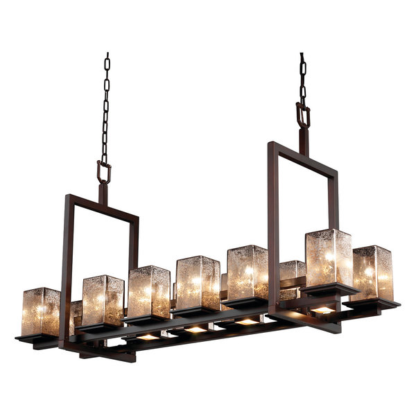 Wire Glass Aria 5 Light Chandelier, CylinderFlat, Nickel, GridClear
