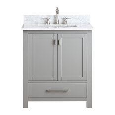 "Avanity Modero 31"" Vanity, Chilled Gray Finish, Carrera White Marble Top"