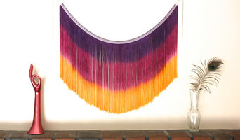 Fiber Art Fringe Wall Hanging, Purple, Pink and Yellow Dyed