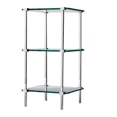 DWBA 3 Tier Floor Standing Bathroom Rack Glass Organizer Shelf, Brass��_