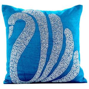 Blue Crystal Swan Cushions Cover, 50x50 Velvet Cushions Cover, Crystal Swan