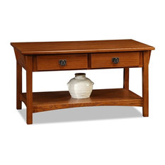 Traditional Coffee Table With Solid Ash and Oak Veneers, 2 Drawers and Shelf