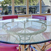 Crackled glass table tops - fab glass and mirror's photo