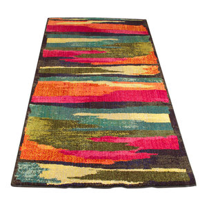 Technicolour Stripe Rug, Multi Colour, 120x170 cm