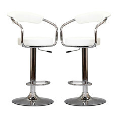 Diner Bar Stools Faux Leather Set of 2, White