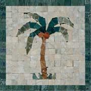 Palm Tree Mosaic Insert - Mosaic Tile